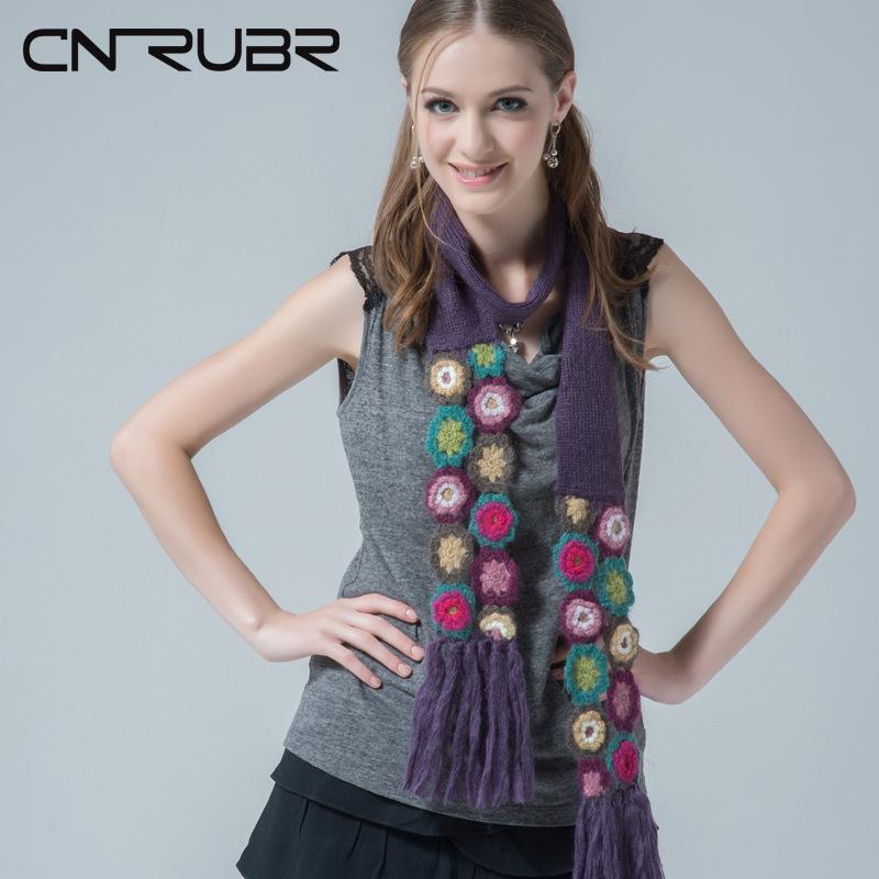 CN-RUBR puro cotone ricamato Sciarpe semplice disegno casuale Fringed mano delle signore della sciarpa modello di maglia Fiore Scialli