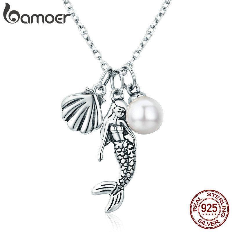 Bamoer 100% 925 Sterling Silber Romantische Meerjungfrau-Legende Shell Anhänger Halsketten für Frauen Sterling Silber Schmuck Geschenk SCN237 Y19061703