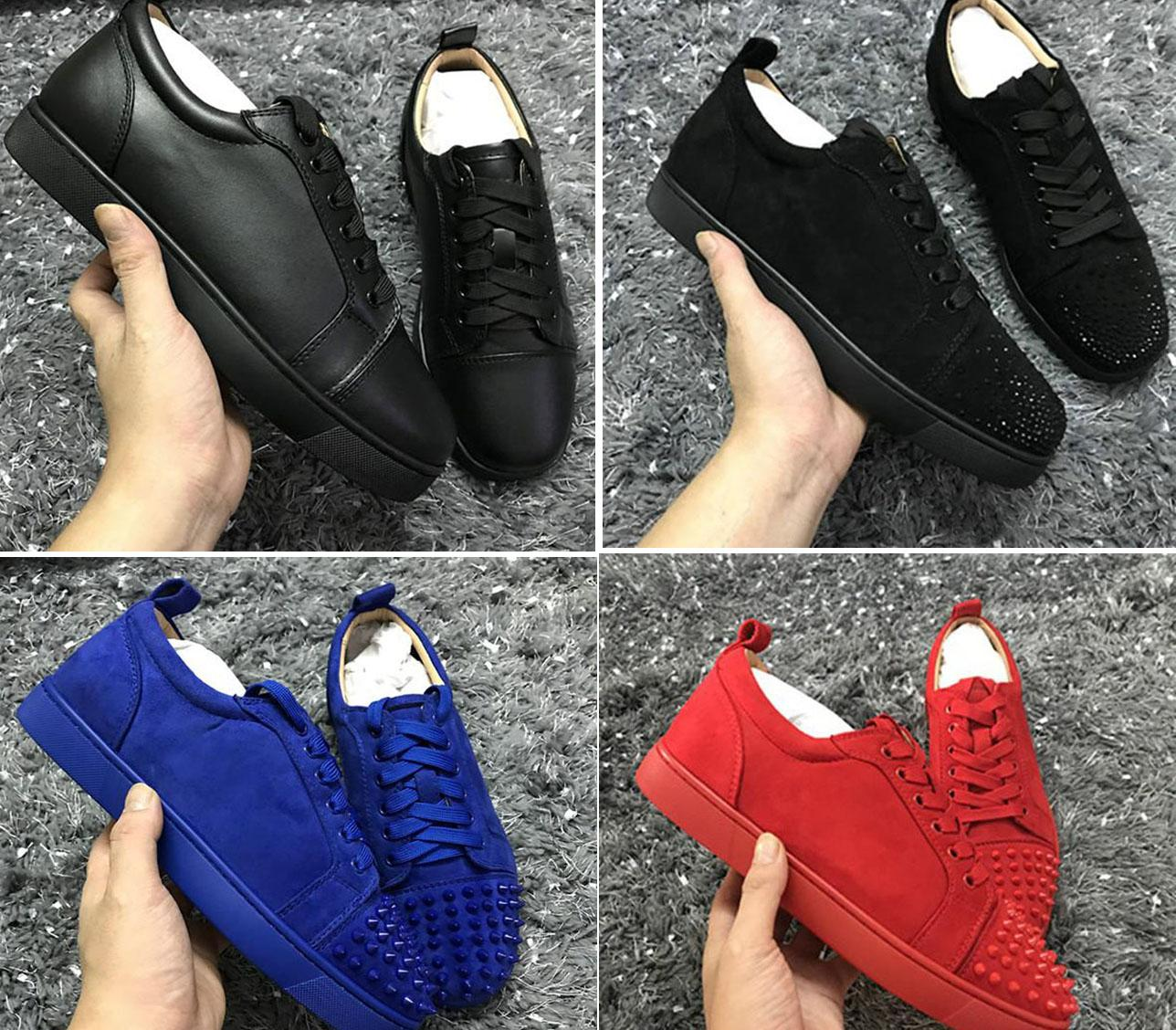 السفينة بسرعة خارج بالجملة الأحمر نعال حذاء رياضة العلامة التجارية المصممين! النمط الكلاسيكي الأحمر الرجال أسفل لمسنبل جديد الجلد المدبوغ جلدية منخفضة أعلى أحذية رياضية العشاق