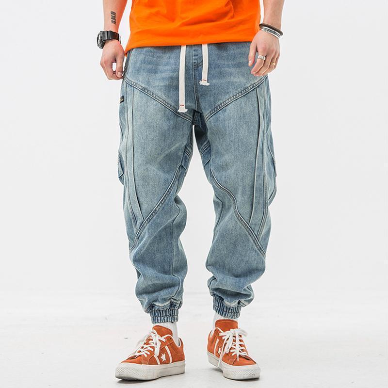 Японские винтажные моды мужские джинсы свободные посадки ретро голубые джинсовые брюки грузовые брюки сплетенные дизайнерская уличная одежда хип-хоп джинсы мужчин Joggers1