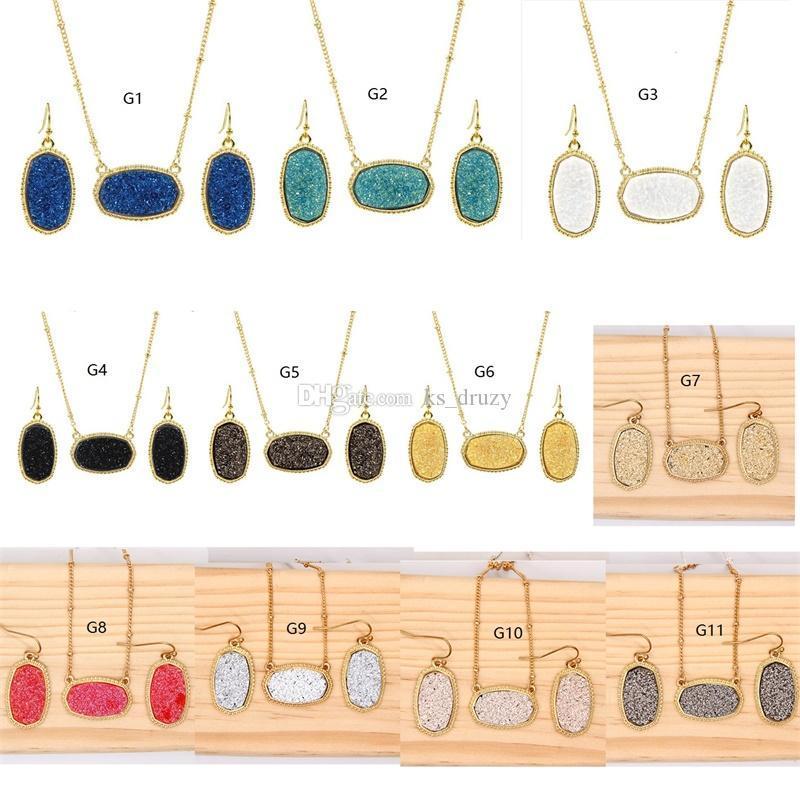 Горячее золото Посеребренная Drusy Druzy ожерелье стиль падение серьги комплект ювелирных изделий Большой Стиль с блестками Druzy заглушкой для женщин