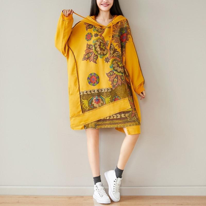 Qyl2M Une chemise avec ressort artistique chandail lâche chemise à capuche grande taille nouvelle robe robe mi-longueur irrégulière 4CabS