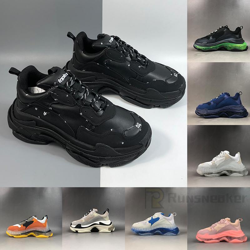 2021 Mode Luxe Triple S Casual Shoes Plattform Heels Männer Frauen Damen Trainer Tripler Schwarz Weiß Weiß Weiße Buchstaben Design Sneakers Alt Vati
