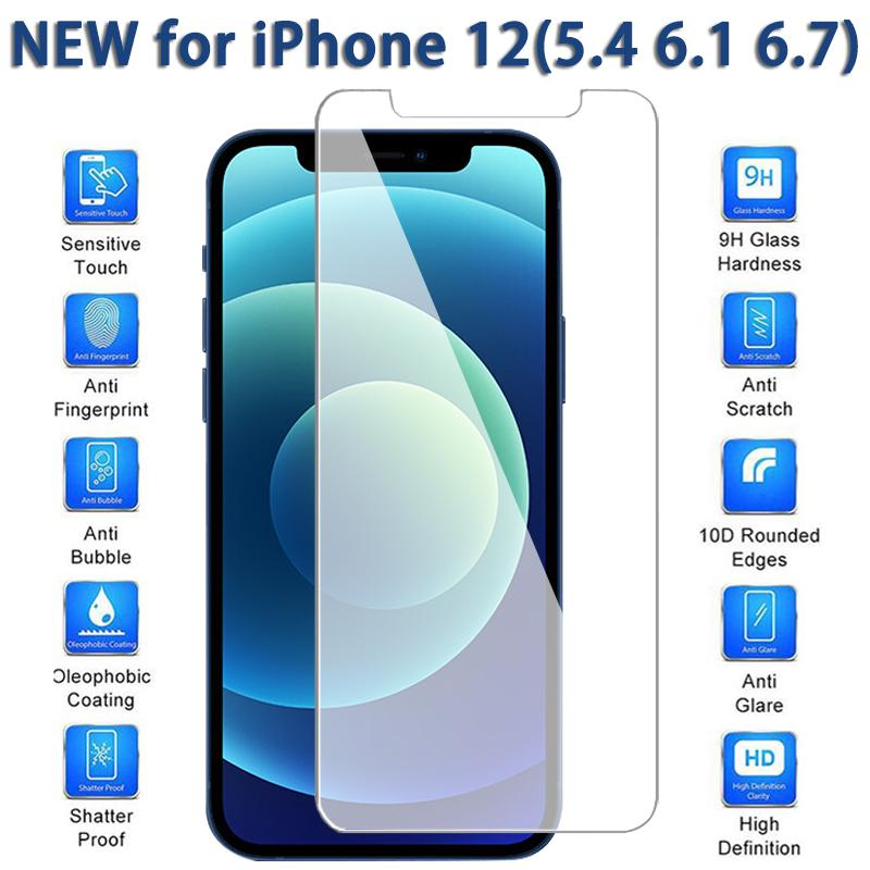 Screen Protector for iPhone12 12 Mini 11 Pro Max XS Max XR Tempered Glass for iPhone 7 8 Plus Protective Film 0.26mm with Retail Box