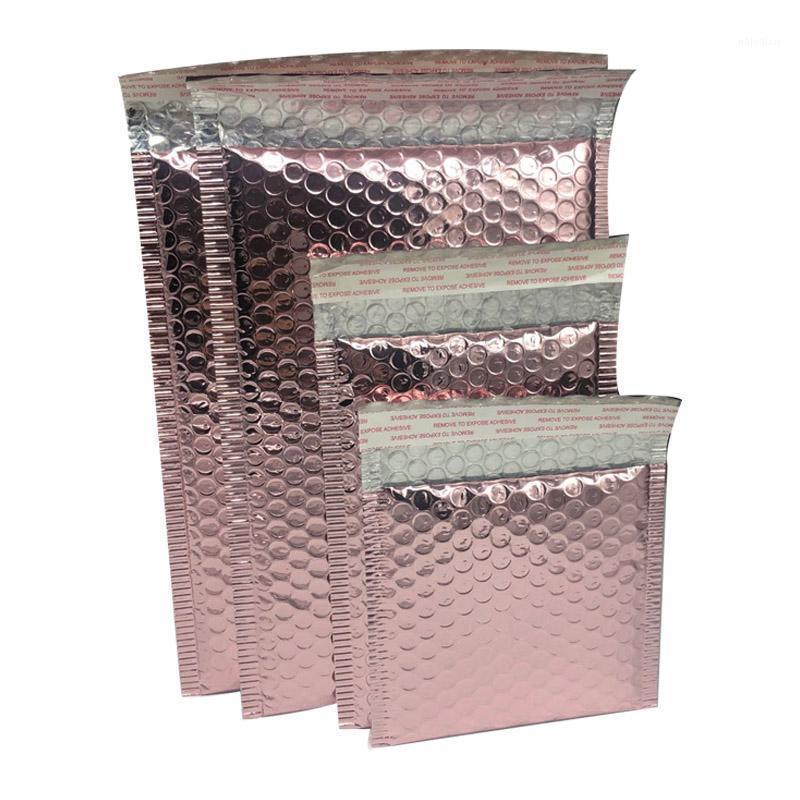 10 шт. Розовое золото фольга пластиковые мягкие пузырьки конверты сумки почтовые оболочки пузырьки рассылки сумка бизнес свадебный подарок подарок1
