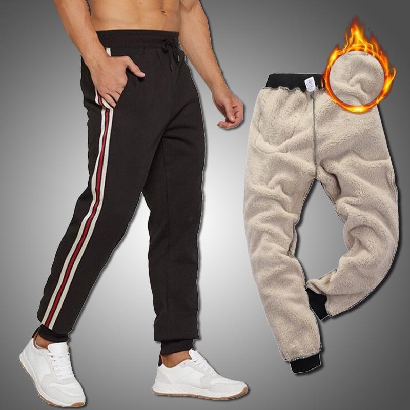 Invierno gruesos pantalones de felicitaciones hombres nuevos joggers de rayas hombres pantalones cálidos pantalones elásticos camareros deportes pantalones Tamaño de la UE y201123
