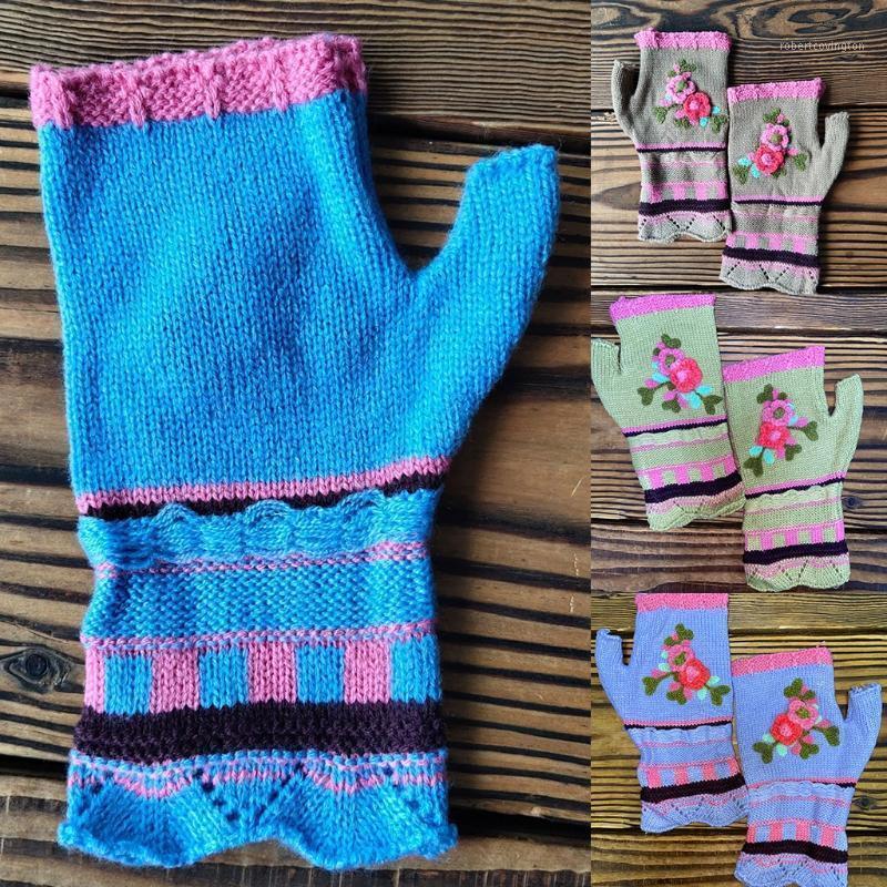 Frauen Vintage Multicolor Jacquard Häkeln Floral Fingerlose Handschuhe Herbstgestrickte Hälfte Finger SMS-Handschuhe Dehnbares Loch1