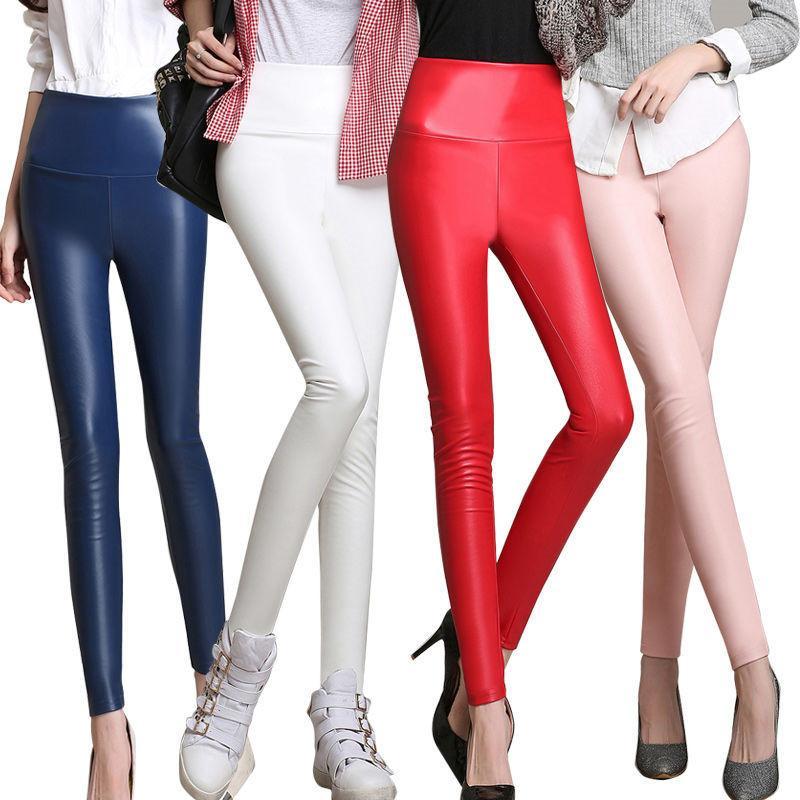 Sonbahar Kış İnce Kadife PU Pantolon Kadın Seksi Elastik Stretch Sahte Deri Sıska Kalem Pant Kadınlar Sıkı