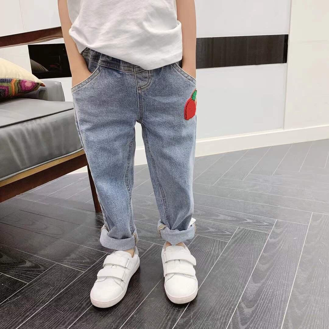 Blue Denim Pants For kids Girls Boys Waist Jeans 2021 Spring Toddler Solid Colors For Baby trousers tops