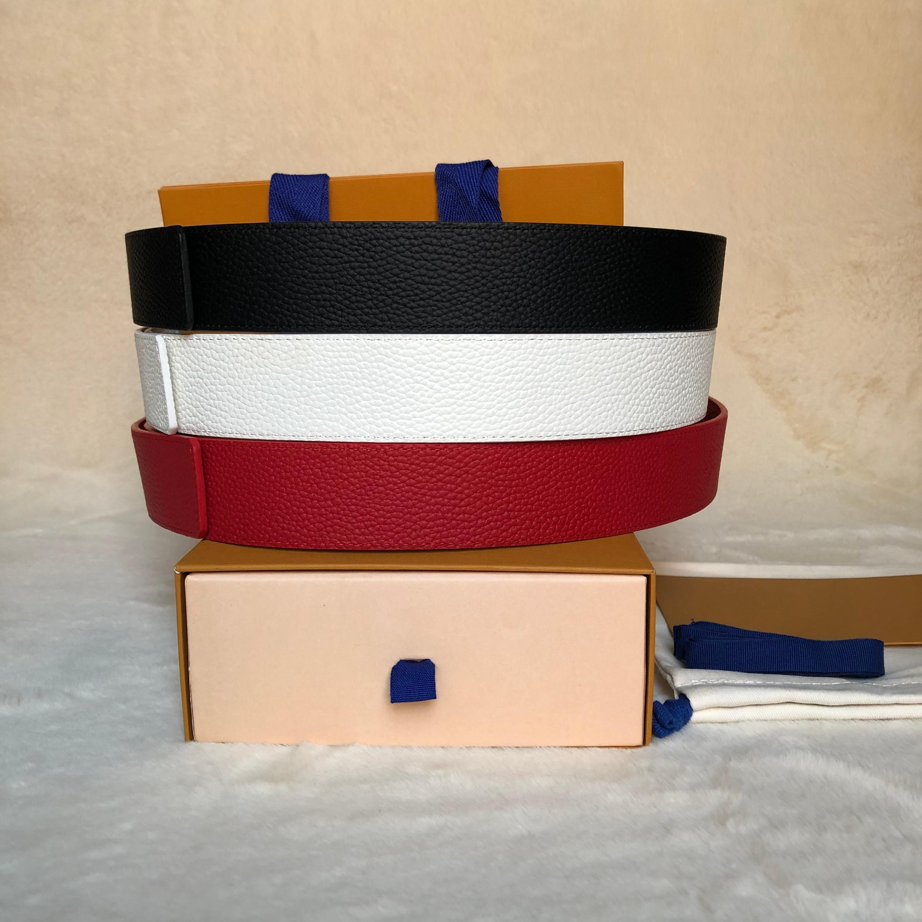 Cintura da uomo in vera pelle rossa bianca bianca bianca con scatola con scatola classica Brown Lettera Black Brown Brown Brown Grid Belt spedizione gratuita 06