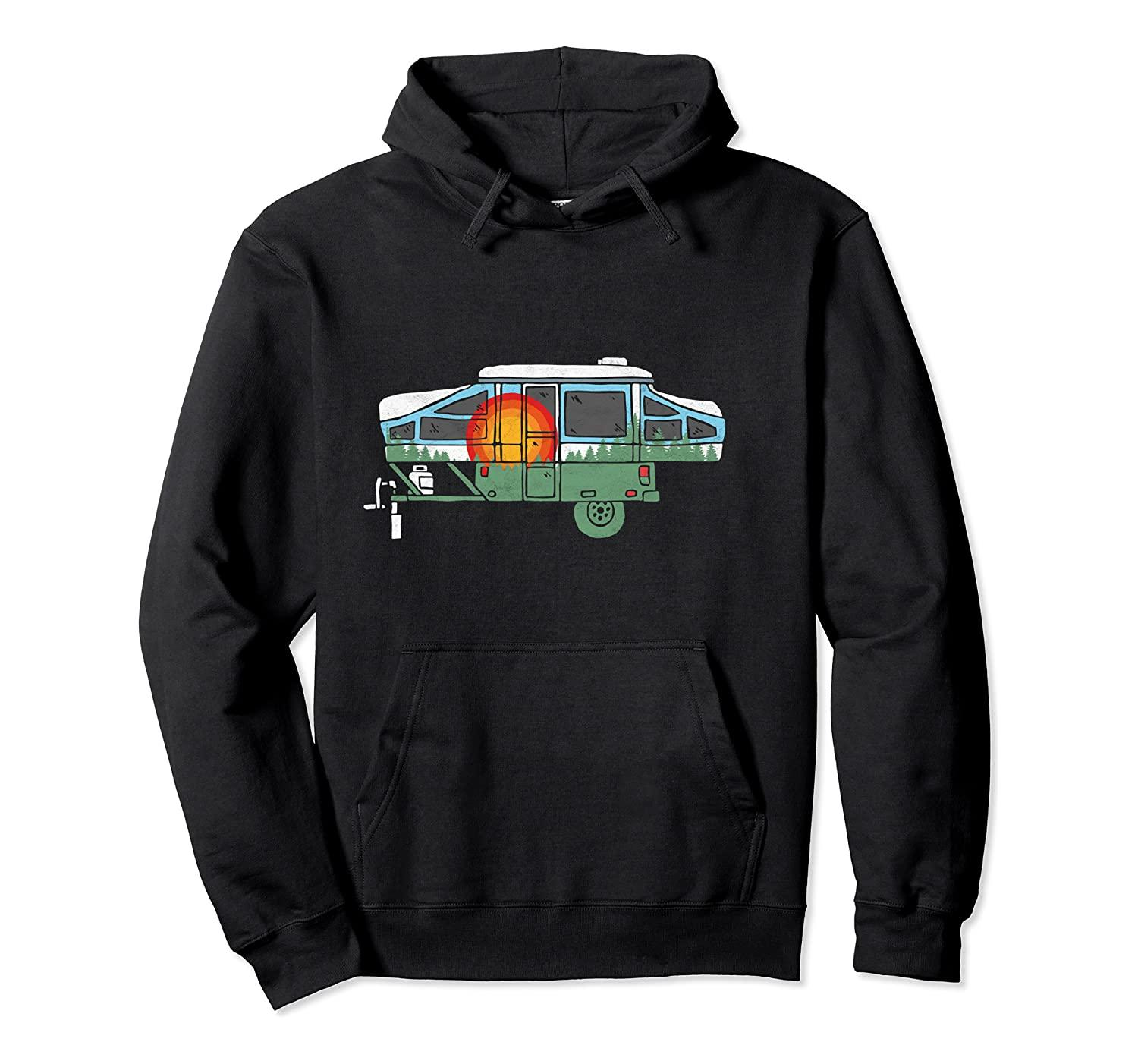 Retro Pop-Up Camper Vintage Nature Design con cappuccio unisex S-5XL Nero / Grigio / Navy / Royal Blue / Scuro Heather