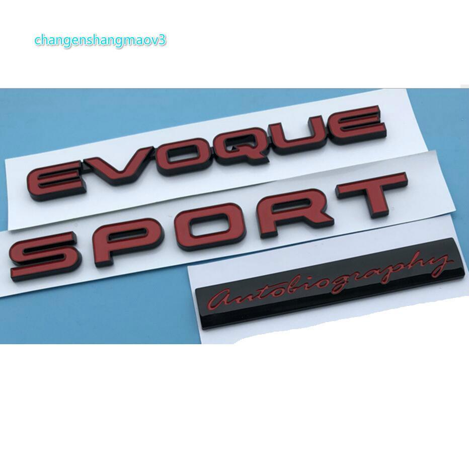 Letras rojas Evoque Deporte Autobiografía Transportes Transportes Trasero Insignia Emblema Emblemas Insignias para Land Rover Discovery Range Rover