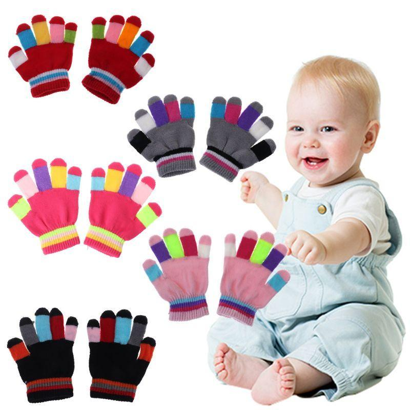 Hair Accessories 1 Pair Kids Gloves Full Finger Warm Winter Children Colorful Stripe Knitted Boys Girls Solid Glove Multi Color Elastic 19QF