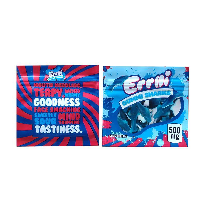 Mylar çanta Koku geçirmez Çerezler Mylar Çanta 3.5 Packaging Errlli Gummi köpekbalığı Çanta 500mg Sakızlı Edibles