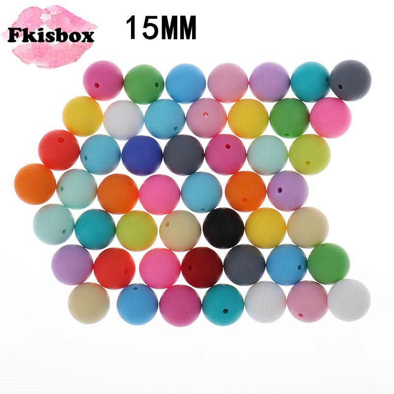 100PCS Round Silicone Beads Teething 15MM Bpa Free For Baby Toy Diy Teether Teething Necklace Accessories Silicone Teether Bead 201123
