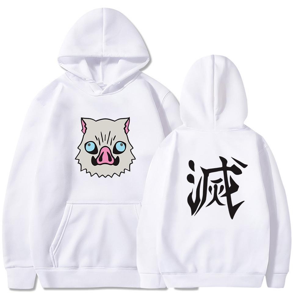 sudaderas vestuario animado japanses demonio asesino sudadera Kisatsutai Inosuke jabalí de dibujos animados Imprimir sudaderas con capucha 1020 de Harajuku