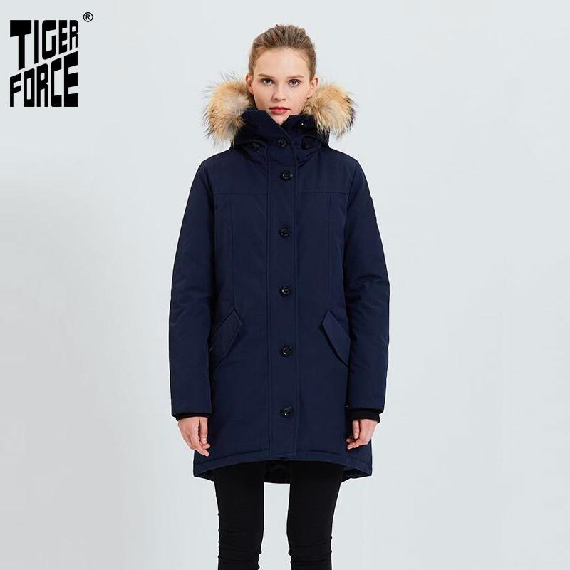Giacca da donna Tiger Force Women Winter Giacca addensata Calda Parka con cappuccio di pelliccia reale Impermeabile antivento all'aperto Snowjacket Cappotto imbottito 201126