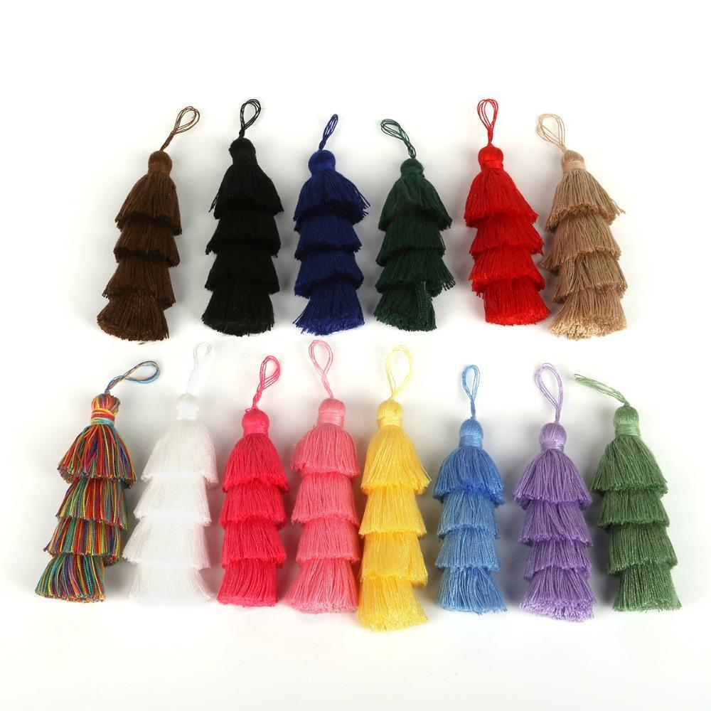 1 pc 4 camadas poliéster algodão tassel guarnição 8 cm borlas de seda para casa decoração de casamento DIY cortinas de costura acessórios h bbynbm