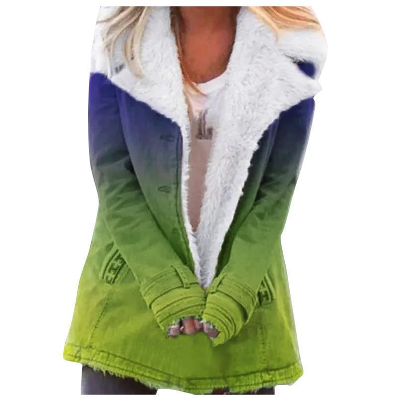Chaquetas de mujer Mujer de moda de impresión de la solapa de la solapa Color de la chaqueta con capucha 2021 con cremallera suelta de manga larga Mantenga cálido abrigo de felpa casual