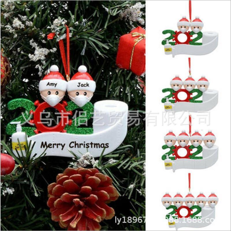 2020 árbol de Navidad venta caliente mascarilla sin resina muñeco de nieve de Santa Claus Colgante