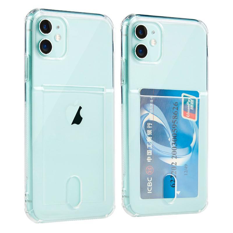 Transparente macio TPU de absorção de choques Titular robusto Phone Case Dropproof para iPhone XS 12 Mini 11 Pro Max XR 6 7 8 Plus