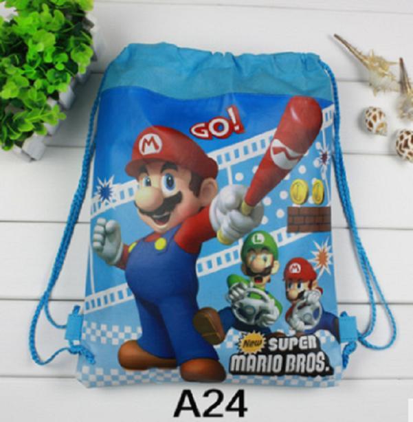 30pcs \ çok Mavi süper mario tema dokunmamış hediye çanta doğum günü partisi seti hediye İpli okul sırt çantaları bebek duş dekor yüzmek