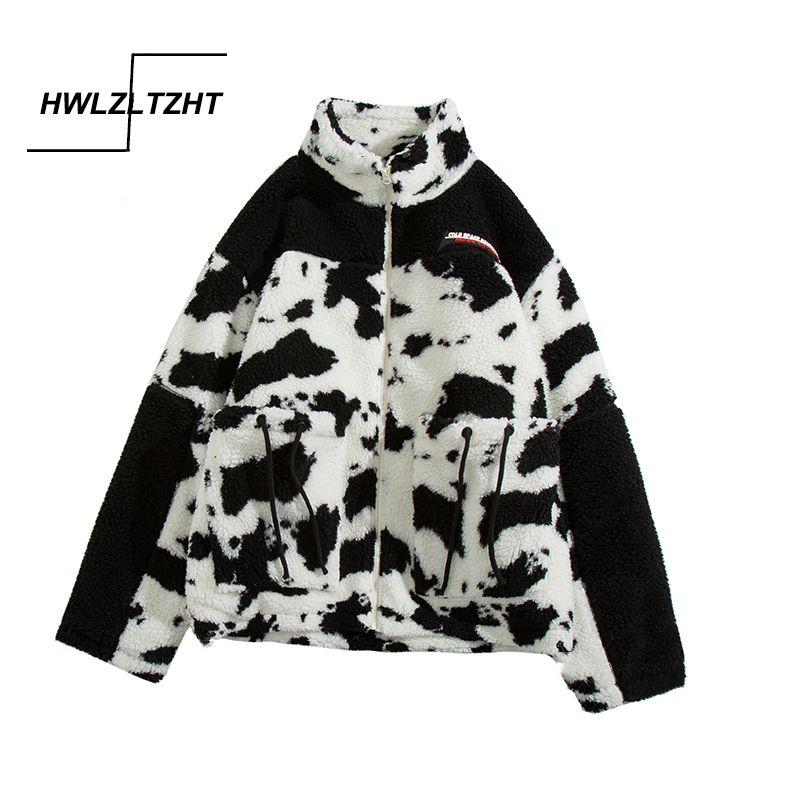 HWLZLTZHT lana d'agnello cappotti per le donne Cow Print Jacket Streetwear Zipper casuale caldo autunno-inverno 2020 di Harajuku cappotto femminile