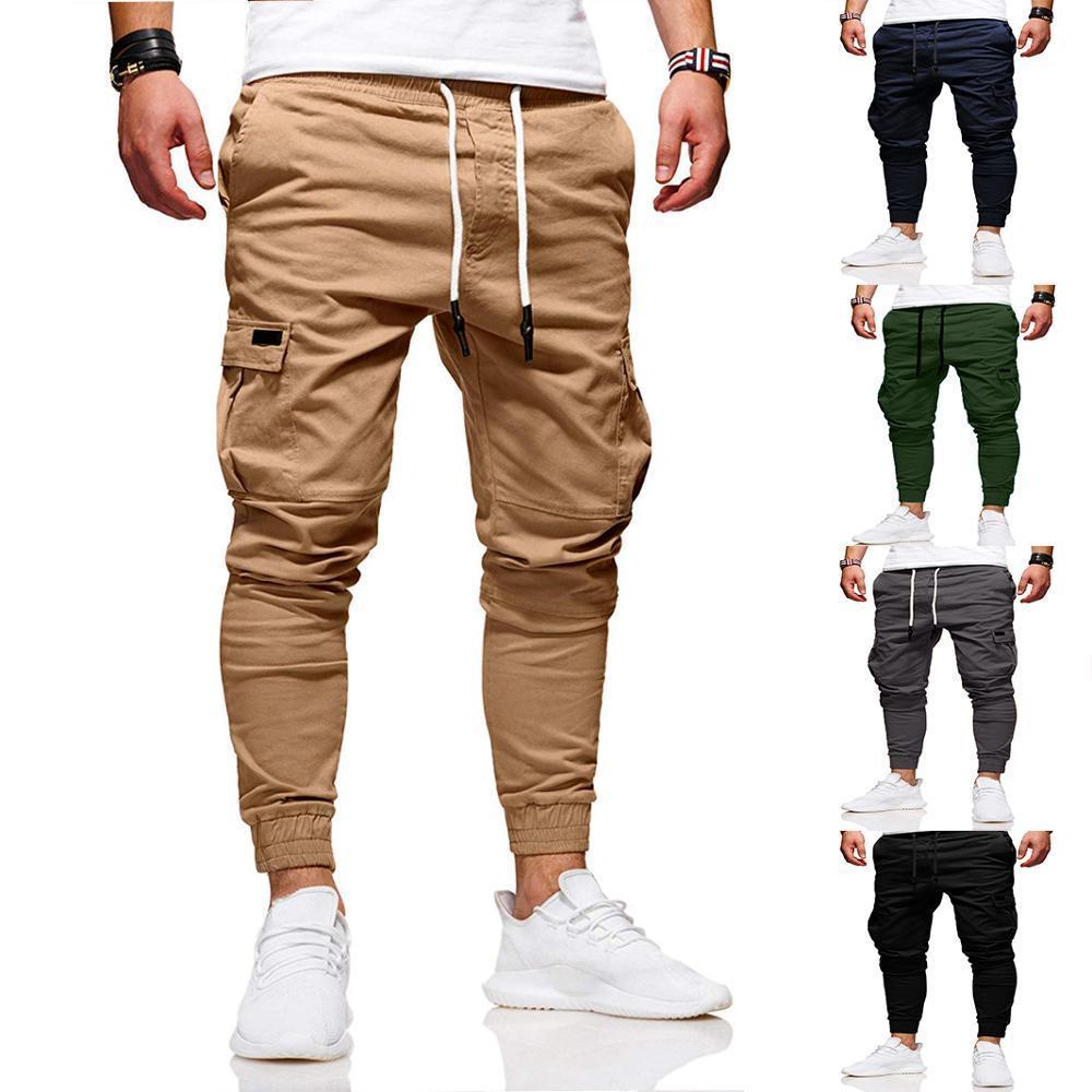 Homens Casual Jogadores Calças Sólidas Calças de Carga Fino Sólido Masculino Calças Multi-bolso Novos Mens Sportswear Hip Hop Harem Harem Pants Pants 201110