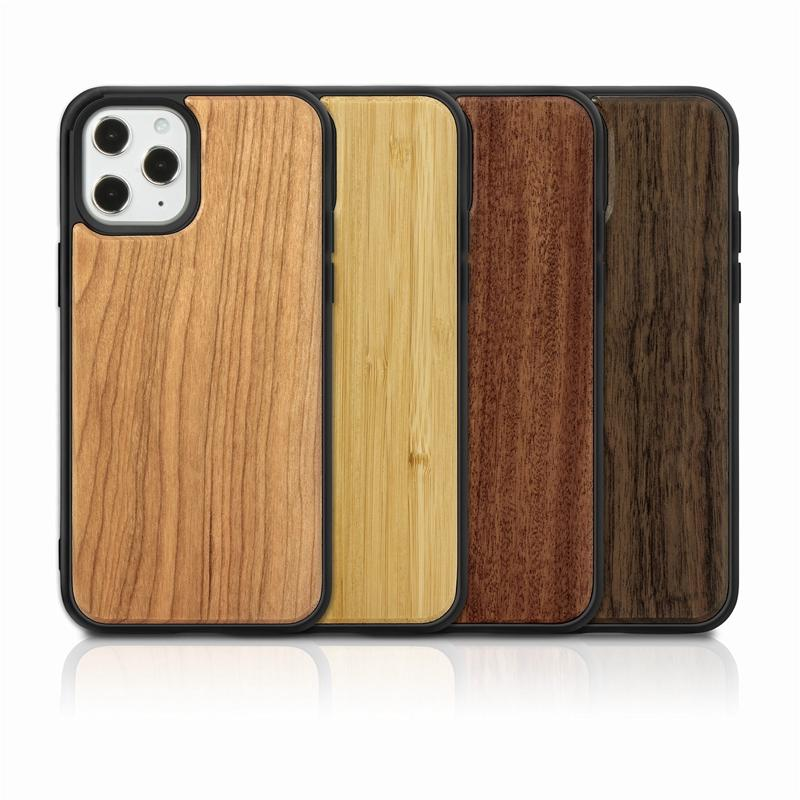 Per Iphone 12 11 Pro Max X Caso XS XR Max di legno reale di bambù casse di legno con la copertura posteriore TPU A prova d'urto