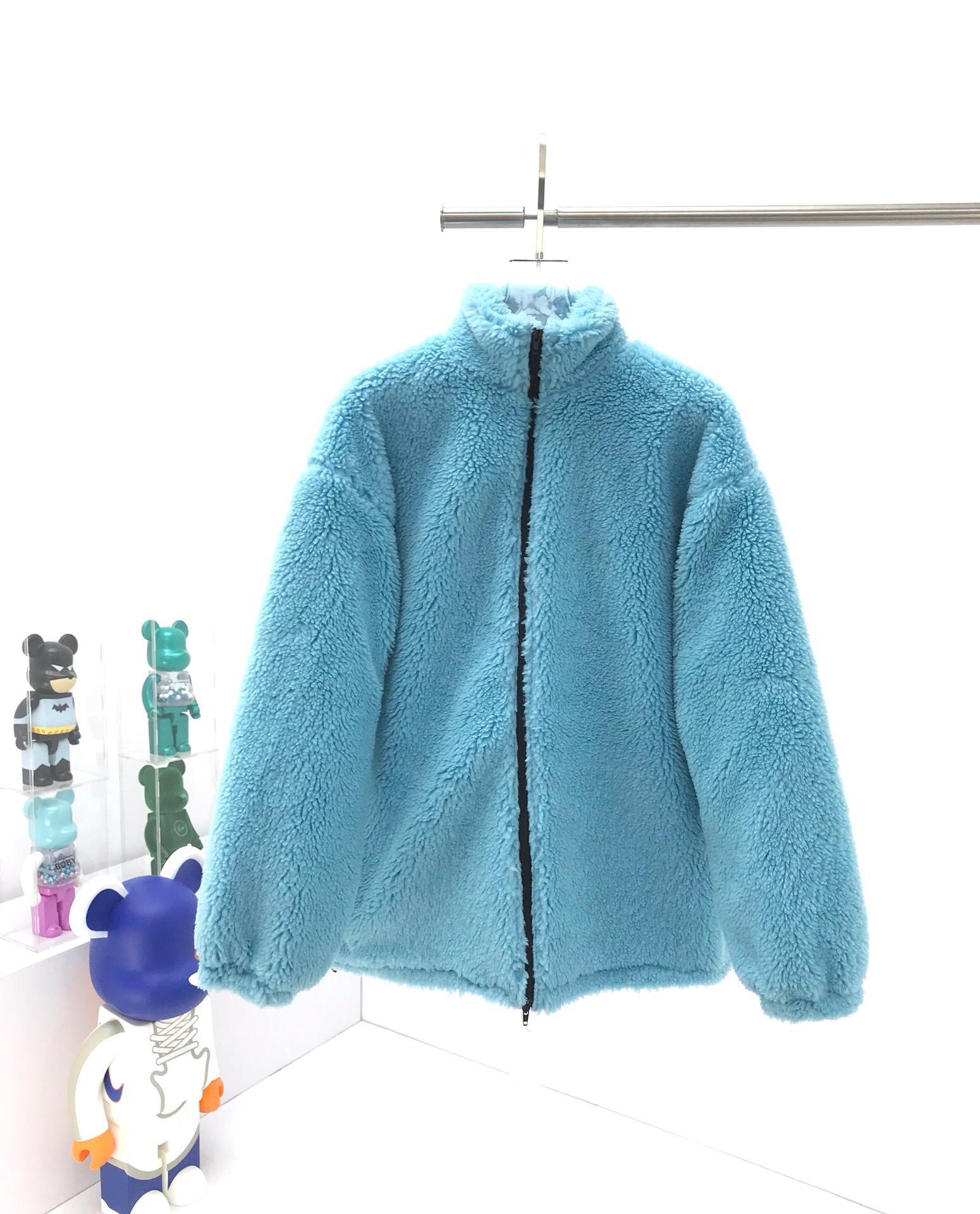 2020 последней моде голубой шерсти куртка Негабаритные теплая куртка мужчины и женщины Шерсть Толстые Padded Jacket Trend Личность Streetwear