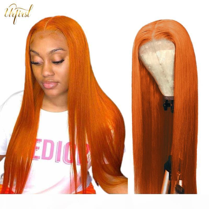 30 32 34 GINGER Orange Perruque droite Pièce centrale # 99J Brésilien Dentelle Perruques de cheveux humains pour femmes noires Perruques Funmi Puer