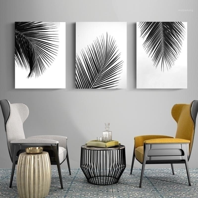 Çerçeveler Siyah ve Beyaz Yaprakları Tuval Boyama Doğal Katı Çam Ahşap Çerçeve Poster Baskı Duvar Sanatı Resimleri Ile Ev Dekorasyonu1