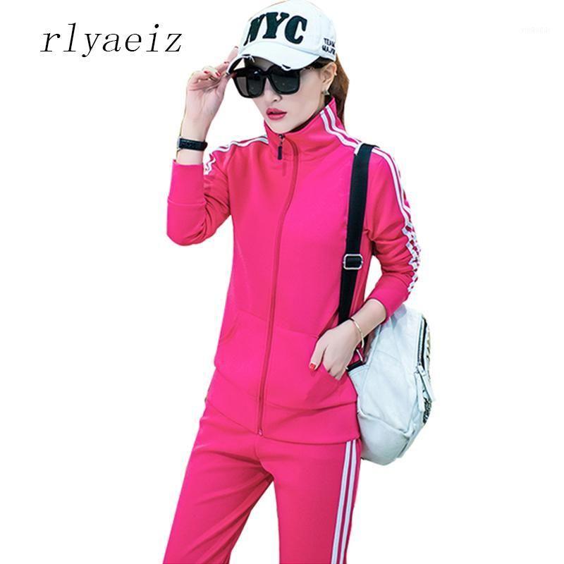 Tracksuits das mulheres Rlyeiz 2 peças Set Mulheres Plus Size 4xl Casual 2021 Primavera Outono Zipper Hoodies + Calças Sporting Suits1