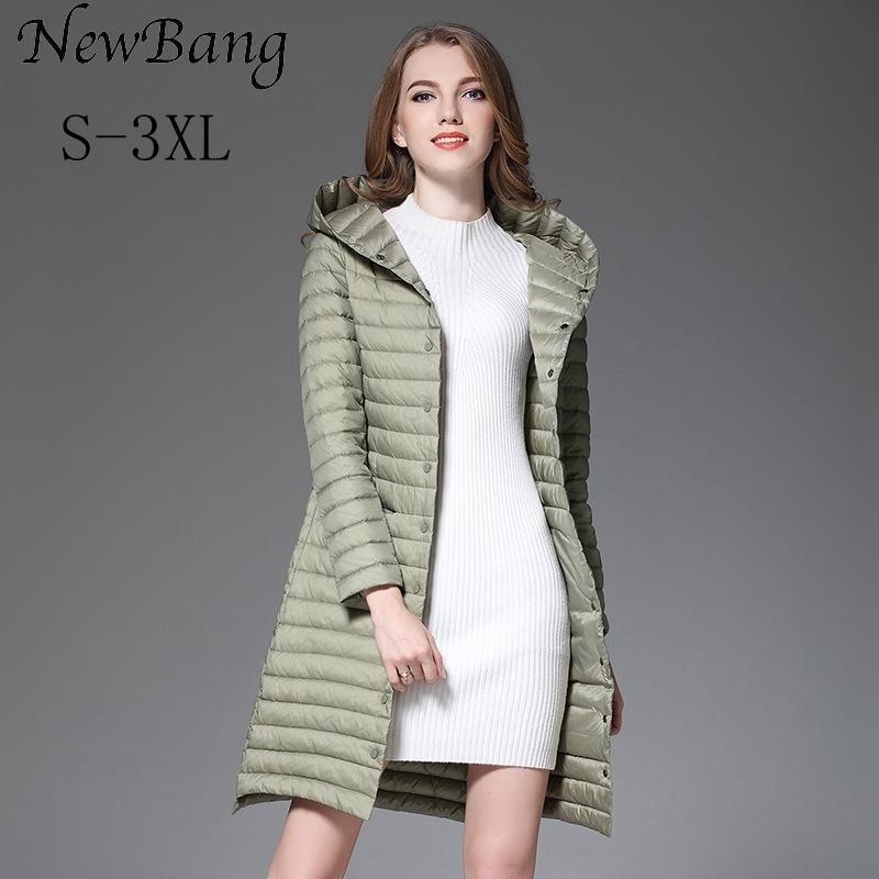 Newbang Длинные куртки Зимние Ultra Light вниз Женщины с капюшоном однобортный пальто Женский Ветровка куртка