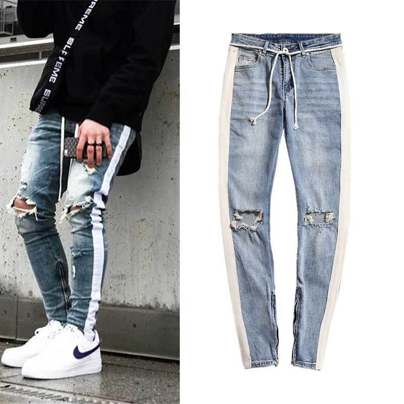 Europe et Amérique du Hot Vendre Hommes Hip Hop High-End Slim Fit avec des trous Pantalon skinny New Style Hommes Blanc Bars Leg Jeans Zipper