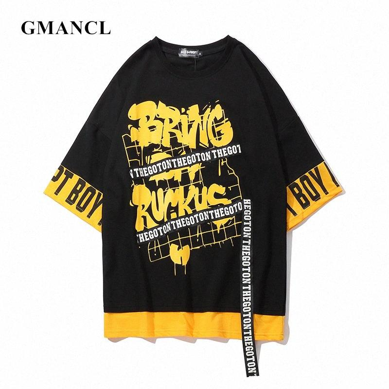 Summer Streetwear Fake Two Pieces Men Letter Printed Ribbon Short Sleeve T Shirts Hip Hop Harajuku Mens Oversized Casual Tshirt Y20010 w9r1#