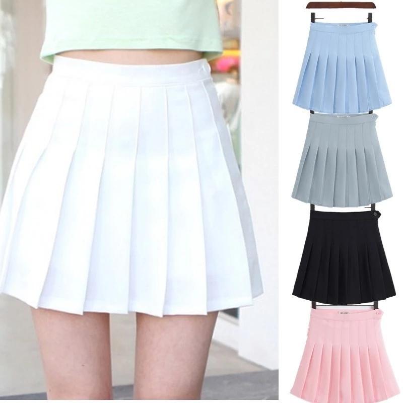 Синьхуаз плиссированные юбки MIDI женщин косплей молодежь студент девушки шорты высокой талии униформа с внутренними трусами белый XXL Y1214