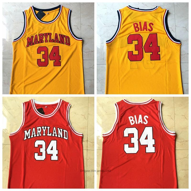 University of Maryland Len #34 Bias Basketball Jersey Red Yellow All Stitched and Embroidery Size S-2XL Free Shipping