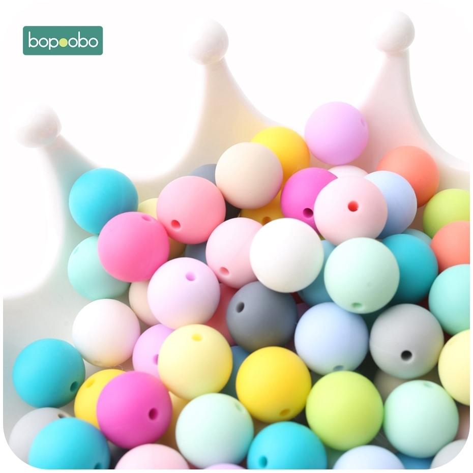 Bopoobo 100pcs Baby Nursing Accessories Silicone Beads Food Grade Teether DIY Jewelry Bracelet Crib Toy Baby Teether 12mm 201123