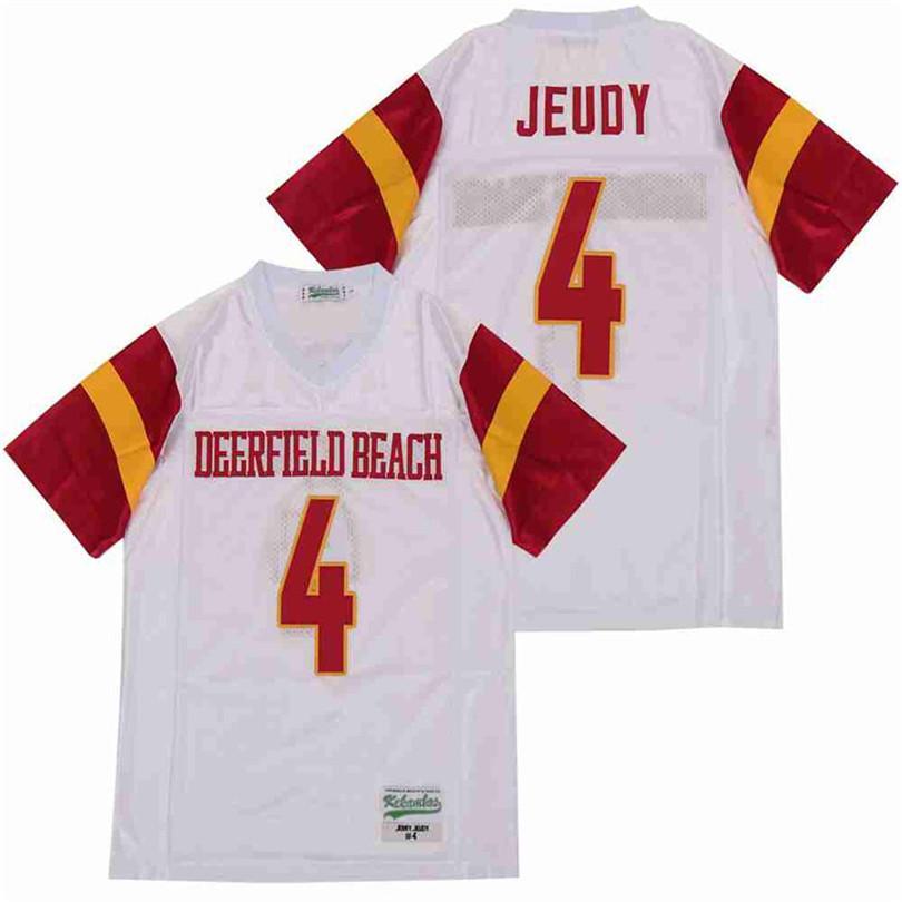 Hombres 4 Jerry Jeudy Deerfield Beach High School camiseta de fútbol transpirable Todo cosido Lejos de color blanco puro algodón de calidad