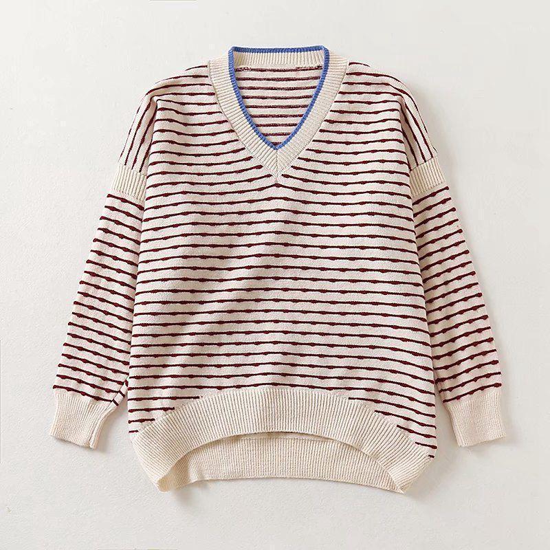 2020 autunno inverno maglione donne calde pullover a strisce donne oversized maglioni maglia maglioni femmina scollo a V natale jumper1