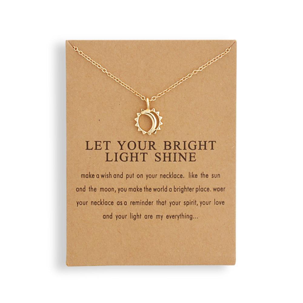 12шт Мода ювелирные изделия Напоминание Let Your Bright Light Shine Sun и Moon ожерелье 200928