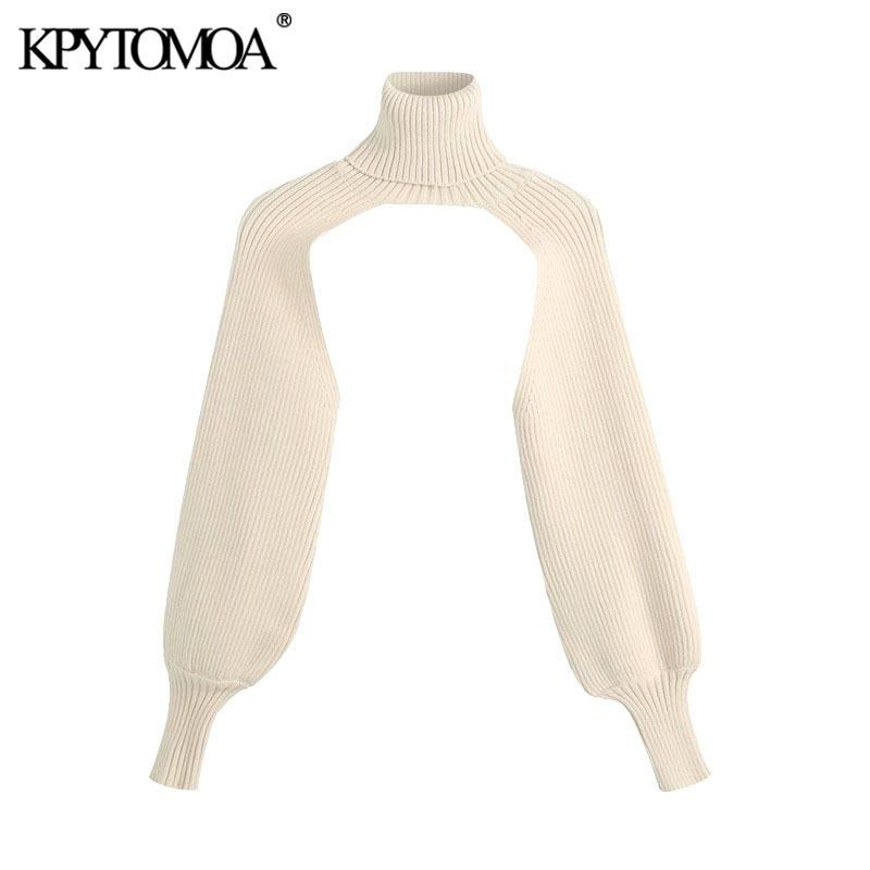 KPytomoa mulheres moda aquecedores braços de malha camisola vintage alto pescoço manga longa fêmea fêmea chique tops 201031