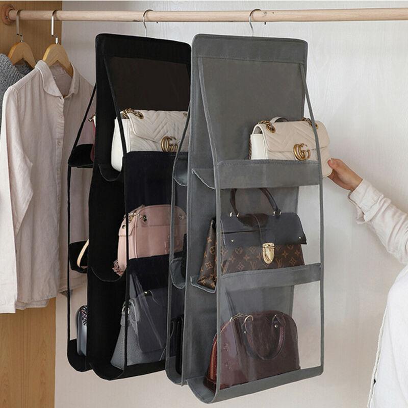 Tasche transparent hängen 6 seite sungrige doppelorganizer pocket closet kleiderschrank ordentlich aufhänger handtasche faltbare geldbörse lagerung ouvhd bvdhl
