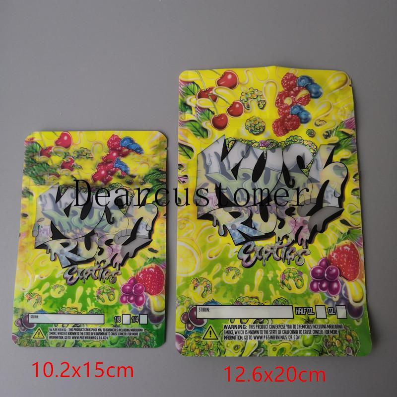 Zwei größe Kush Rush Exotics Taschen wiederverschließbare Reißverschlussdichtung für Frische kinderfeste Blumen Verpackung 3,5g oder 7g Mylar Taschen Kush Rush Mylar BA2021