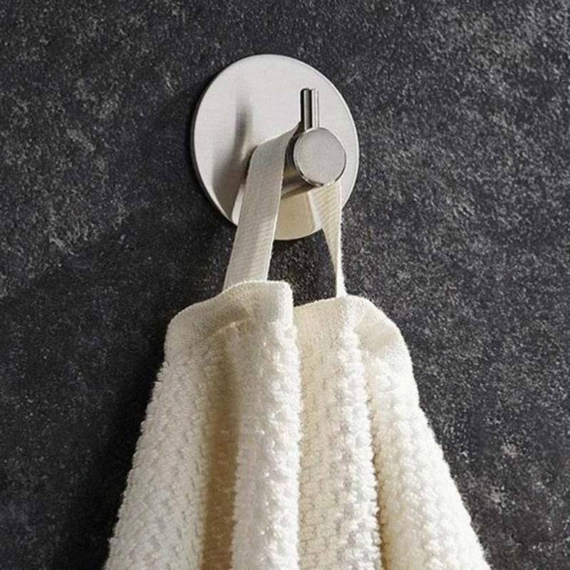 Супер нержавеющей стали Сильный клей Крючки для ванной стены Прачечная стойки Wall Deco Одежда пальто Hat Вешалка Кухня Ванная M4eg #
