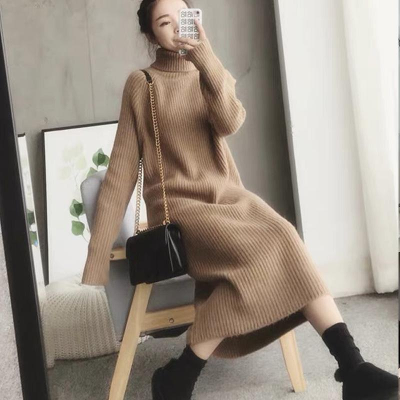 Casual Dresses Turtleneck Knitted Sweater Dress Ladies Fall Winter Elastic Cashmere Bottoming Shirt Midlength Over The Knee Thick