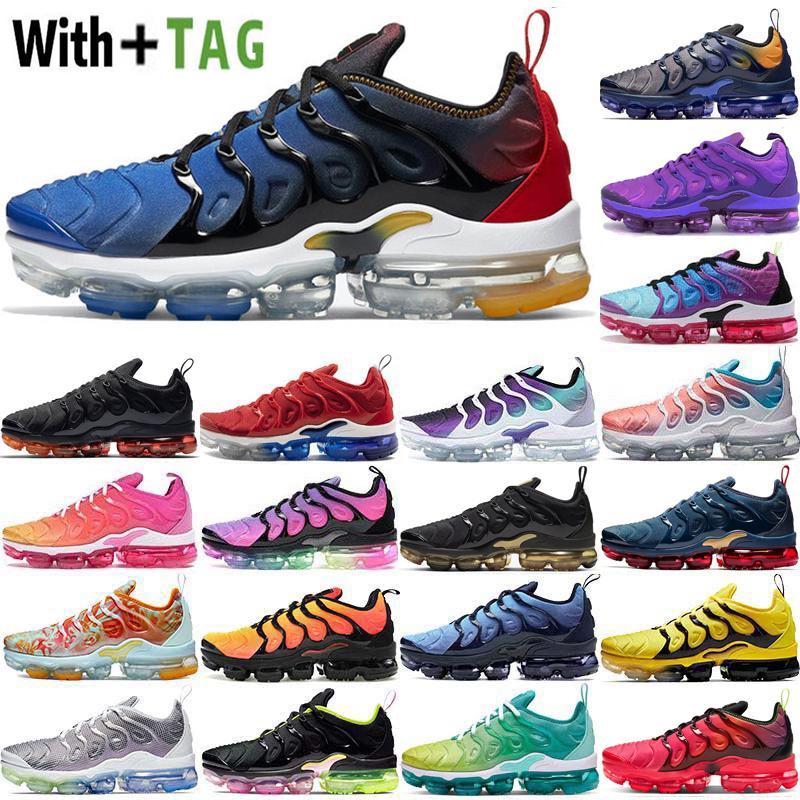 2021 Yeni Yastık TN Plus Degradeler Mavi ABD Erkek Koşu Ayakkabıları Midnight Donanma Xamropavs Üçlü Beyaz Siyah Sneakers Eğitmenler Airs Boyutu 36-45