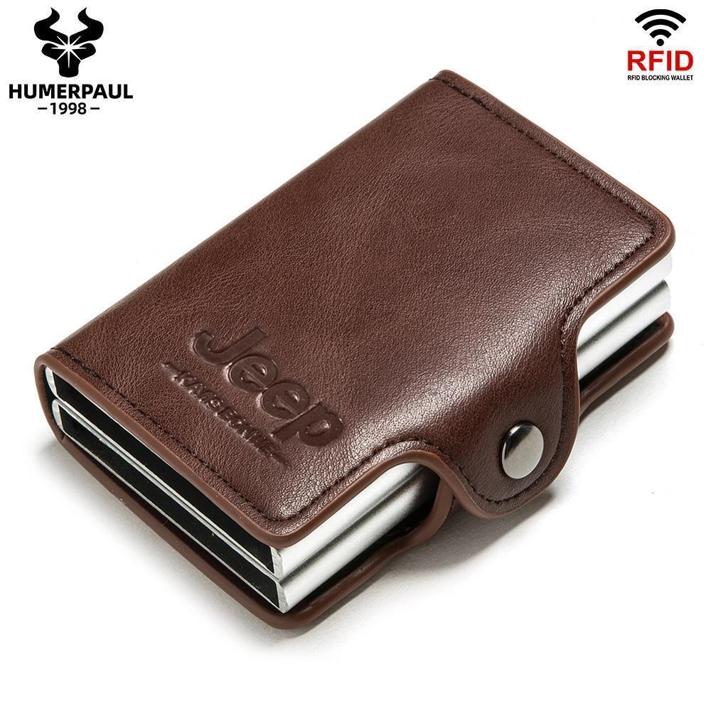 2020 Anti Blocking Herren Fall Credit Double RFID Halter Aluminium minimalistische Metall Business Karteninhaber Brieftasche Karte Reise Kuhpw