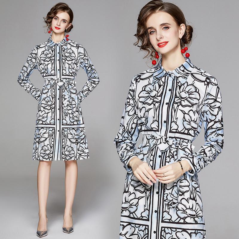 En Yeni Tasarımcılar Pist Bayanlar Moda Zarif Çiçek Baskılı Kanat Midi Düğme Gömlek Elbiseler Seksi Kadınlar Uzun Kollu Casual Ofis Elbise